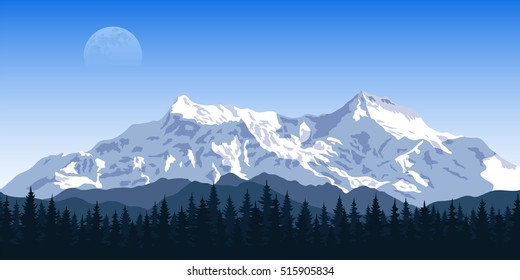 Charmant Picture Of A Mountain Range With Forest Silhouette And Moon On Background,  Travel, Tourism