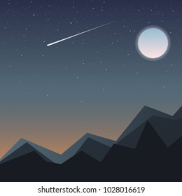 A picture of nature. Burn, starry sky, the moon shines and the star falls