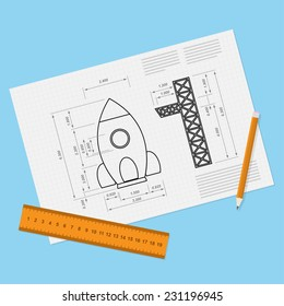 picture of paper sheet with rocket draft, pencil and ruler, start-up, new servi?e, business or product concept