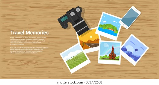 picture of photocamera, smartphone and photographs, flat style banner, travel and vacation concept