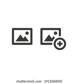 Picture and plus sign vector icon. Add image black symbol.