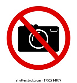 Picture prohibiting taking photos with the camera. Sign of illegal forbidden recording. Vector illustration.