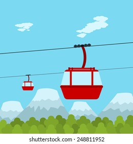Picture of red ropeway cabines with forest and mountain on background, flat style illustration