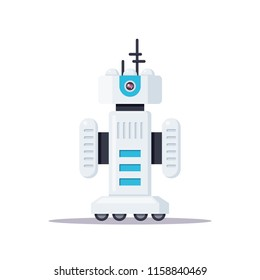Picture of robot isolated on white background. Droid icon. Forex trading robot. Customer support service chat bot. Flat style illustration.