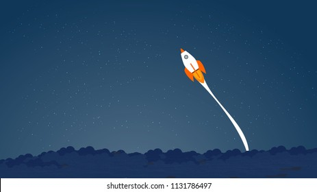 Picture of rocket flying above clouds, concept of taking risk, fearless, daring, courage succes, pass the limits. Business startup banner concept, flat style illustration.