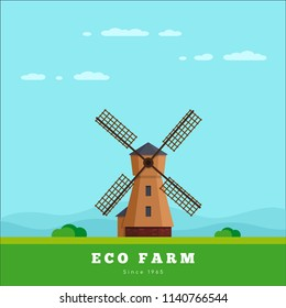 Picture of rural landscape with windmill. Eco farm concept. Flat style illustration