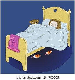 a picture of a scared little girl lying in her bed, and the monster's eyes under the bed