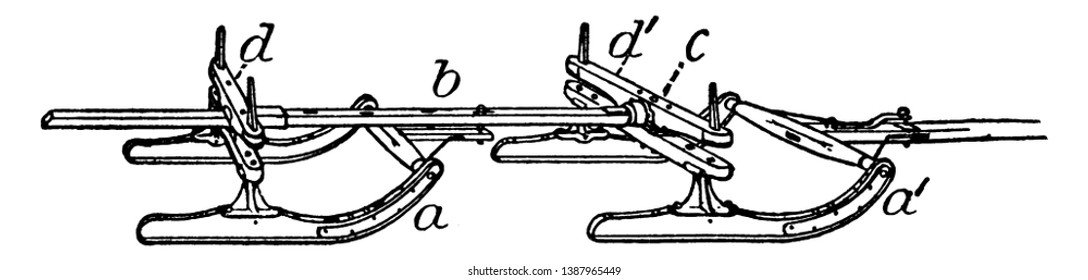 Picture showing different parts of Bobsled like four runner sled, steering pulley, steering axe, brake etc., vintage line drawing or engraving illustration.