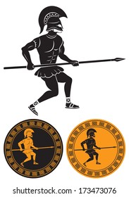 The picture shows a hoplite with a spear