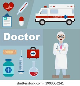The picture shows the profession of a doctor. It depicts a doctor, an ambulance, medicines, a thermometer, a first aid kit, a plaster, syringe, and pills. On the left side, there is an inscription.