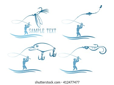 The picture shows a set of icons on the topic of fishing
