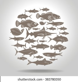 The picture shows a set of marine fish logo