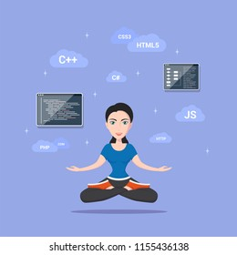 Picture of a smart programmer girl, with programming languages and technologies, cartoon character illustration