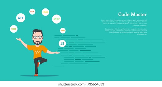 picture of a smart programmer man, joggling with programming languages and technologies, flat style banner design, coding, programming, application development concept