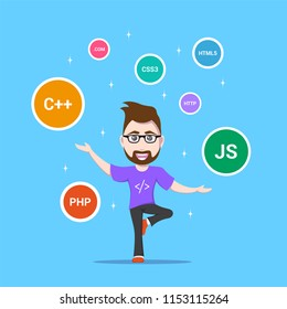 picture of a smart programmer man, with programming languages and technologies signs around, flat style banner design, coding, programming, application development concept