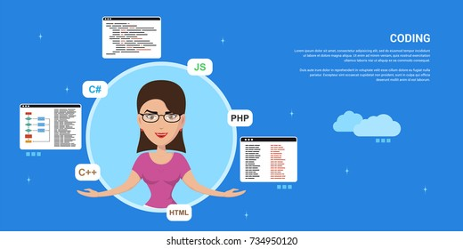 picture of a smart programmer woman, joggling with programming languages and technologies, flat style banner design, coding, programming, application development concept