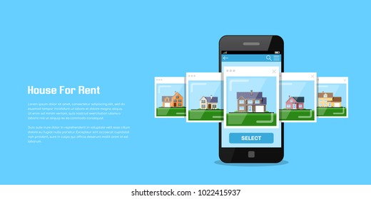 Picture of a smartphone with house icons, house for rent, house selection concept, flat style illustration