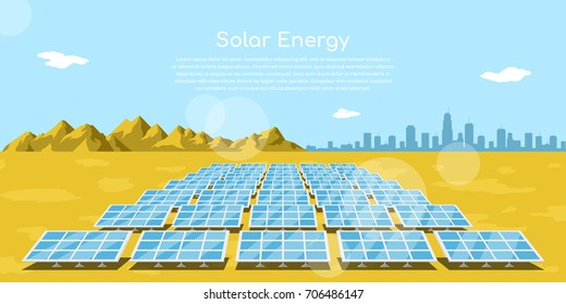 picture of solar batteries in a desert with mountains and big city silhouette on background, flat style concept of renewable solar energy