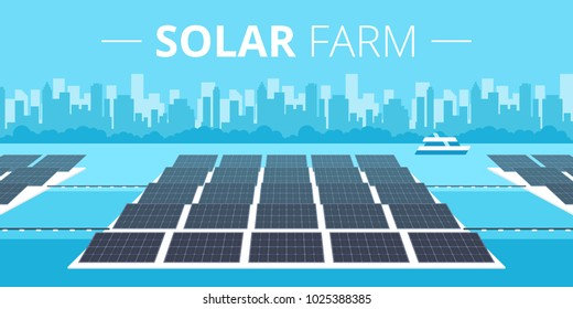 Picture of solar batteries farm on the water with big city silhouette on background flat