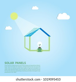 picture of solar panels batteries and green energy in concept  solar panels environmentally friendly home flat style renewable solar energy vector illustration