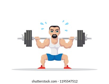 Picture of a strong athlete man doing squats with barbell on neck back. Gym workout concept. Fla style character design.
