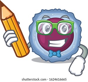 A picture of Student lymphocyte cell character holding pencil