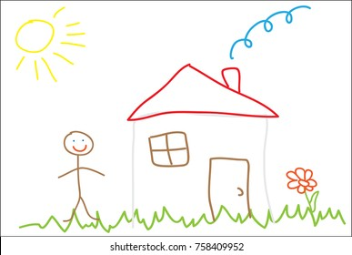 Picture in the style of primitive children's drawing, image of the house on the lawn and man, vector illustration