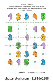 Picture sudoku puzzle 5x5 (one block) with colorful dotted numbers. Answer included.