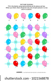 Picture sudoku puzzle 6x6 (one block) with colorful balloons. Answer included.