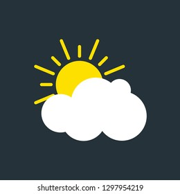 Picture of sun and cloud. Vector illustration of modern weather icon. Flat symbols on dark background.