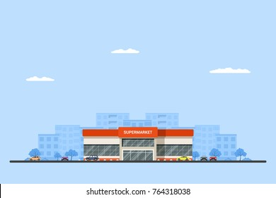 Picture of a supermarket building with cars and big city sillhouette on background. Urban landscape. Flat style illustration.