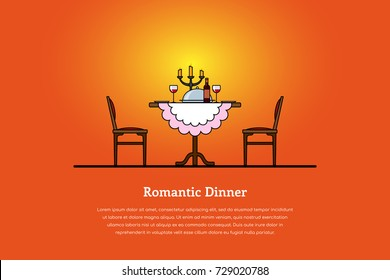 Picture of a table with wine glasses, candles, dish with food and two chairs. Romantic dinner concept. Flat style line art illustration