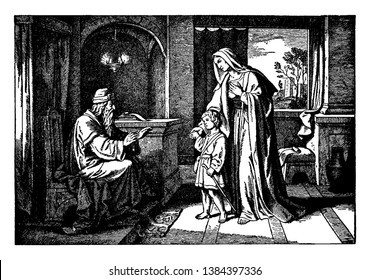 A picture of Three year old Samuel, The High Priest Eli and Hannah the mother of Samuel. There is a hanging lamp, two scrolls on a table and a bench, and a window revealing a city in the distance.