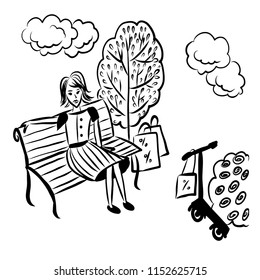 picture picture tired girl with scooter and packages sitting on a bench under an apple tree, sketch comic cartoon vector illustration