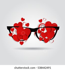 Picture of Valentine's day. Glasses with hearts. Vector 3D illustration