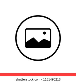 Picture vector icon, photo symbol. Simple, flat design for web or mobile app