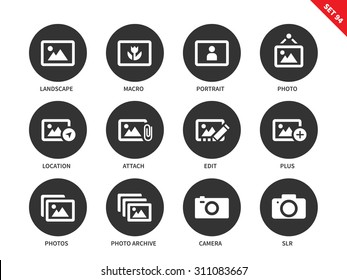 Picture vector icons set. Art concept. Painting and photography items. Icons for galleries and advertising, landscape, portrait, photo, macro, camera. Isolated on white background