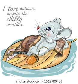 Picture white mice in autumn. Suitable for 2020 calendar, Zodiac sign, Horoscope.  Decorative greeting card