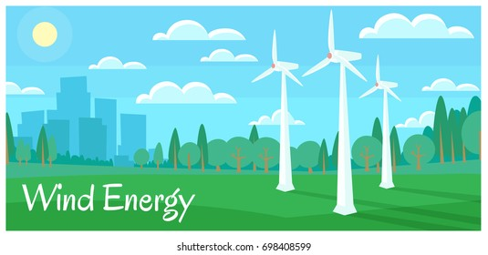 Picture of windmills with city silhouette  and woods. Wind energy