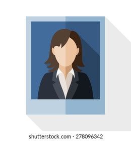 Picture of a woman in a business suit with long shadow on white background