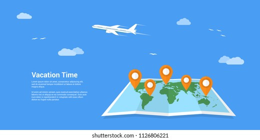 Picture of world map with pointers and flying plane on background. Travel, around the world, holidays and vacation concept. Flat style banner design.
