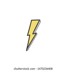 Picture of a yellow lightning in the style of a doodle. Vector illustration by hand.