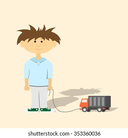 picture of a young boy with toy car, flat style illustration