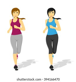 picture of young pretty running woman, healthcare and fitness concept