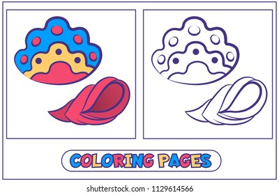 Picture-coloring from beautiful sea shells. Material destkogo creativity. Black-and-white drawing from lines for coloring with paints and pencils. On a white background. Vector illustration.