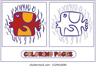 Picture-coloring with a sea fish of square shape. Character for destkogo creativity. Black-and-white drawing from lines for coloring by paints. Against the background of algae. Vector illustration.