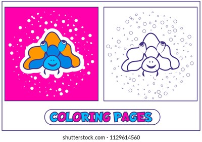 Picture-coloring with sea mollusk bubbles. Character for destkogo creativity. Black-and-white drawing from lines for coloring by paints. On a pink background. Vector illustration.