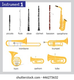 Pictures of different wind instruments. Gray frame around picture