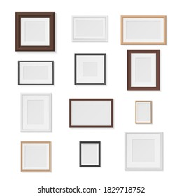 Pictures frames variety on wall realistic mockup set. Horizontal, vertical photographic empty cadres gallery. Museum exhibition. Vector photo frame collection isolated on white.