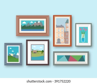 Pictures gallery in frame on room wall. Interior elements. Flat style vector illustration.